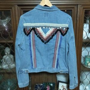 Embellished Boho Denim Jacket